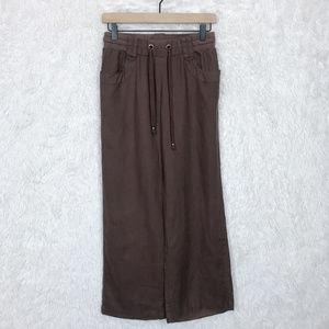 Guess | Brown Wide Leg Linen Pants Small